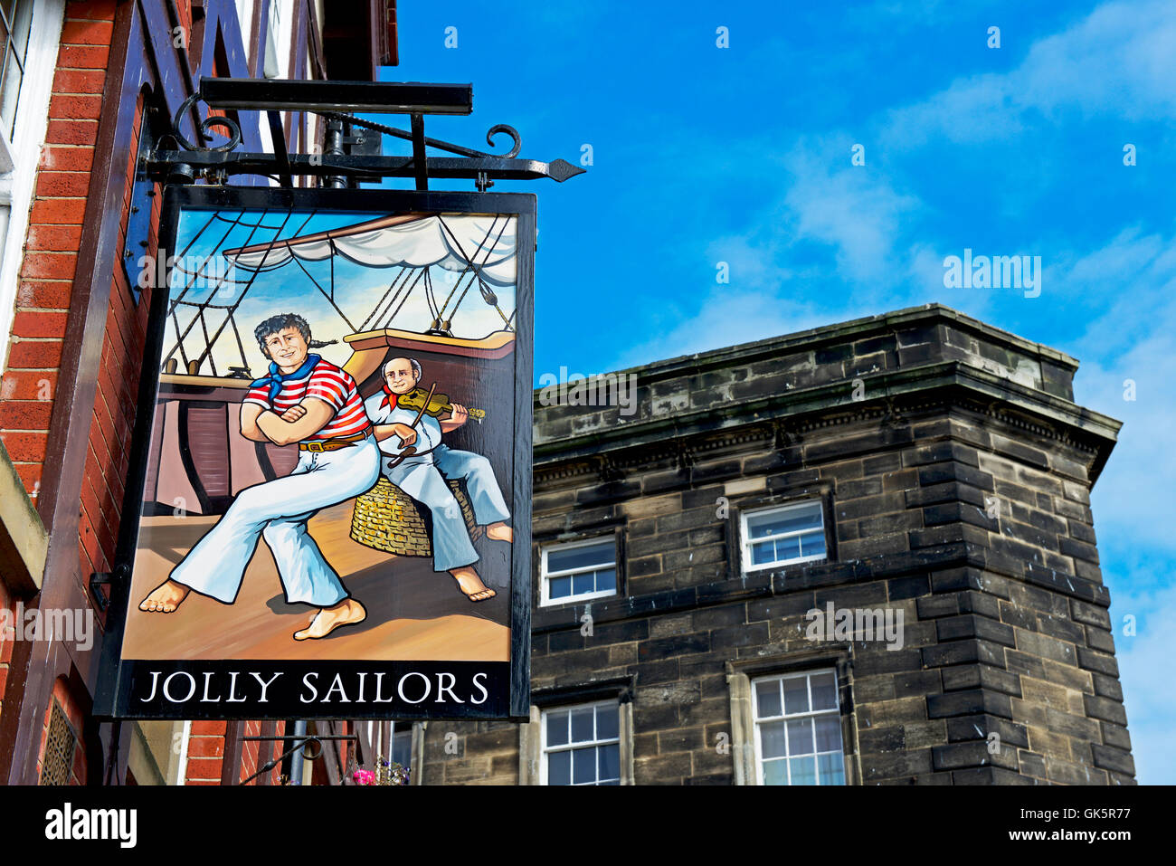 Sign for the Jolly Sailors pub, St Ann's Staith, Whitby, North Yorkshire, England UK - Stock Image