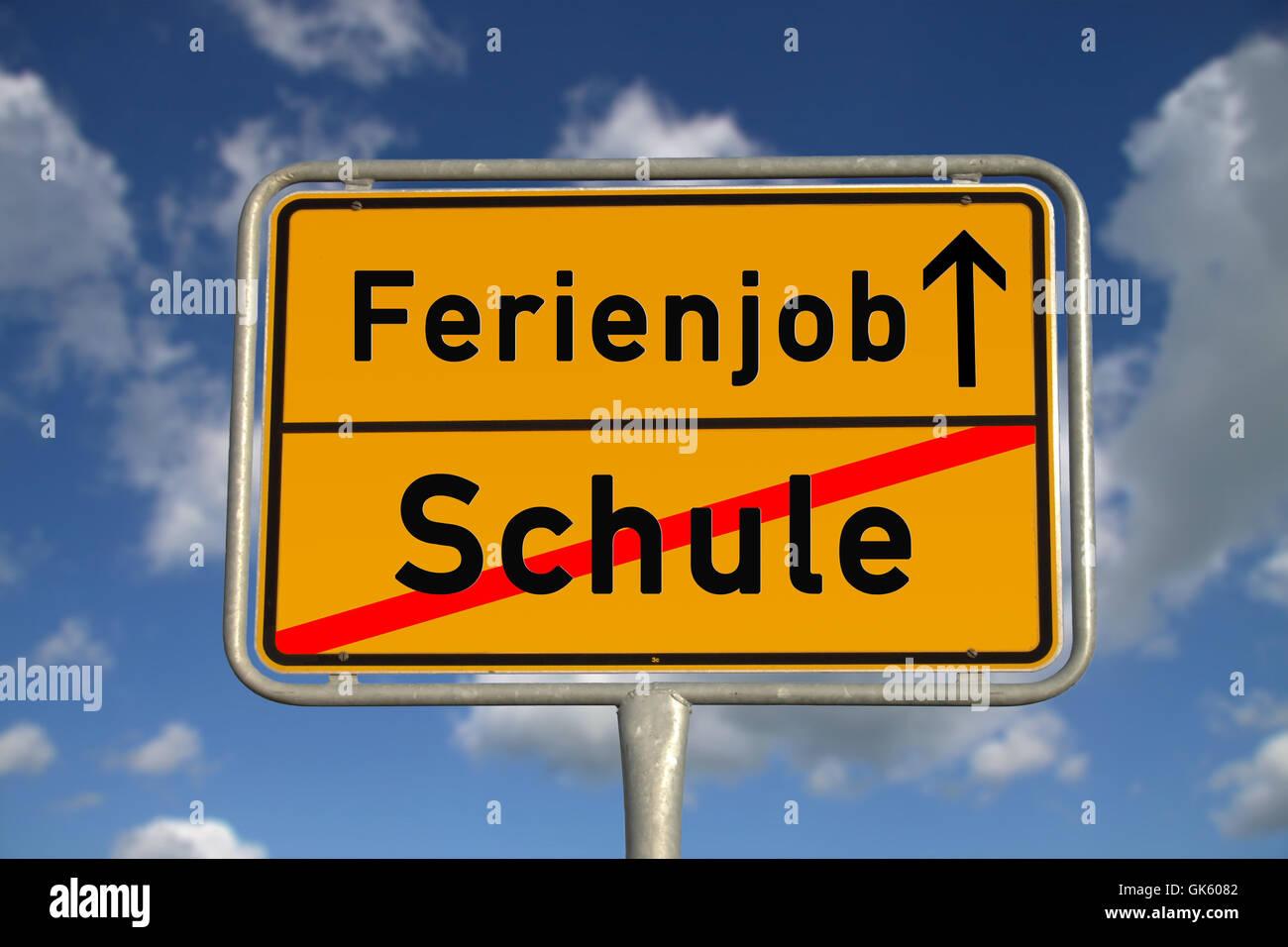 german ortsschild school holiday job Stock Photo