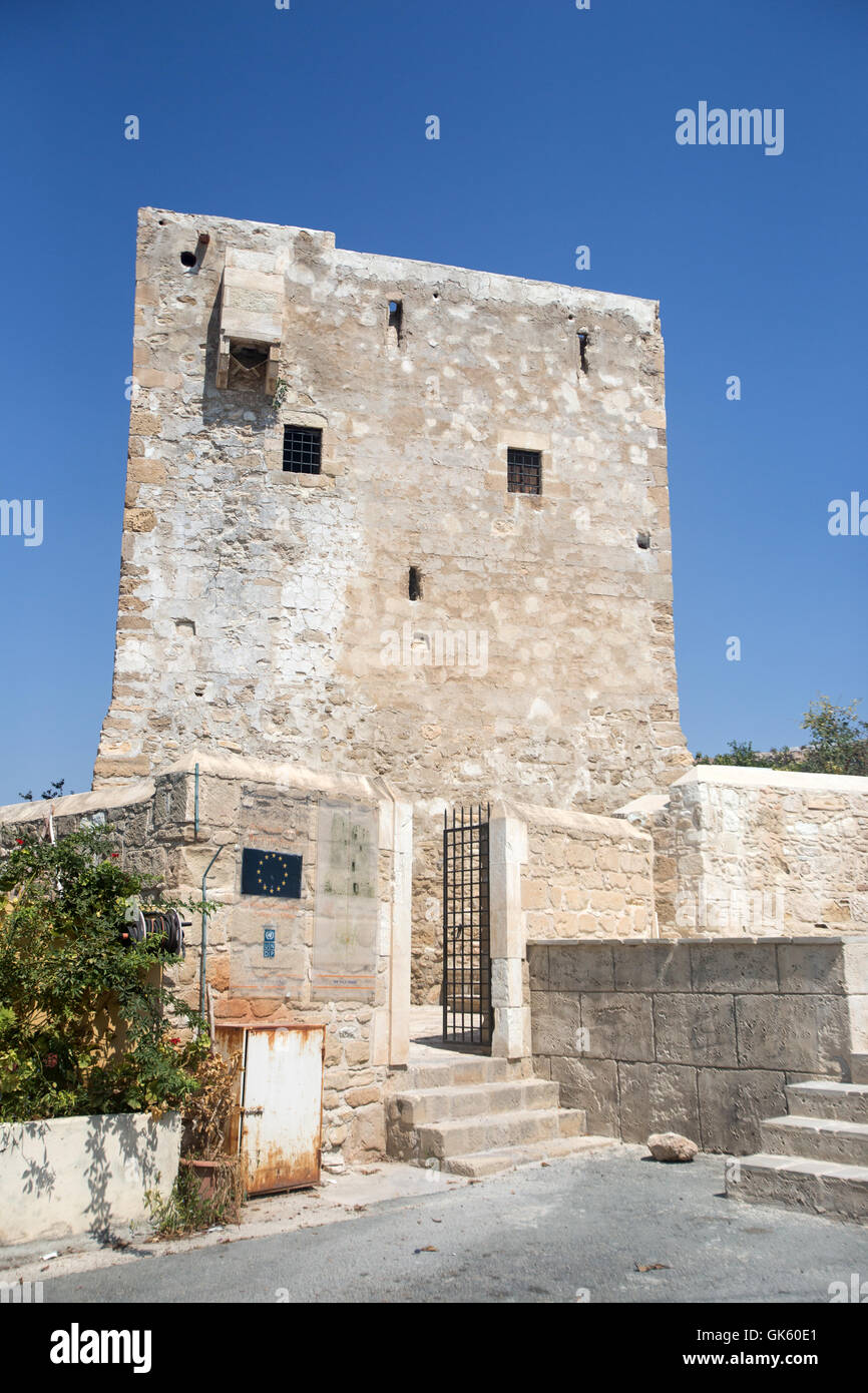 Medieval watchtower in Pyla, Cyprus. - Stock Image