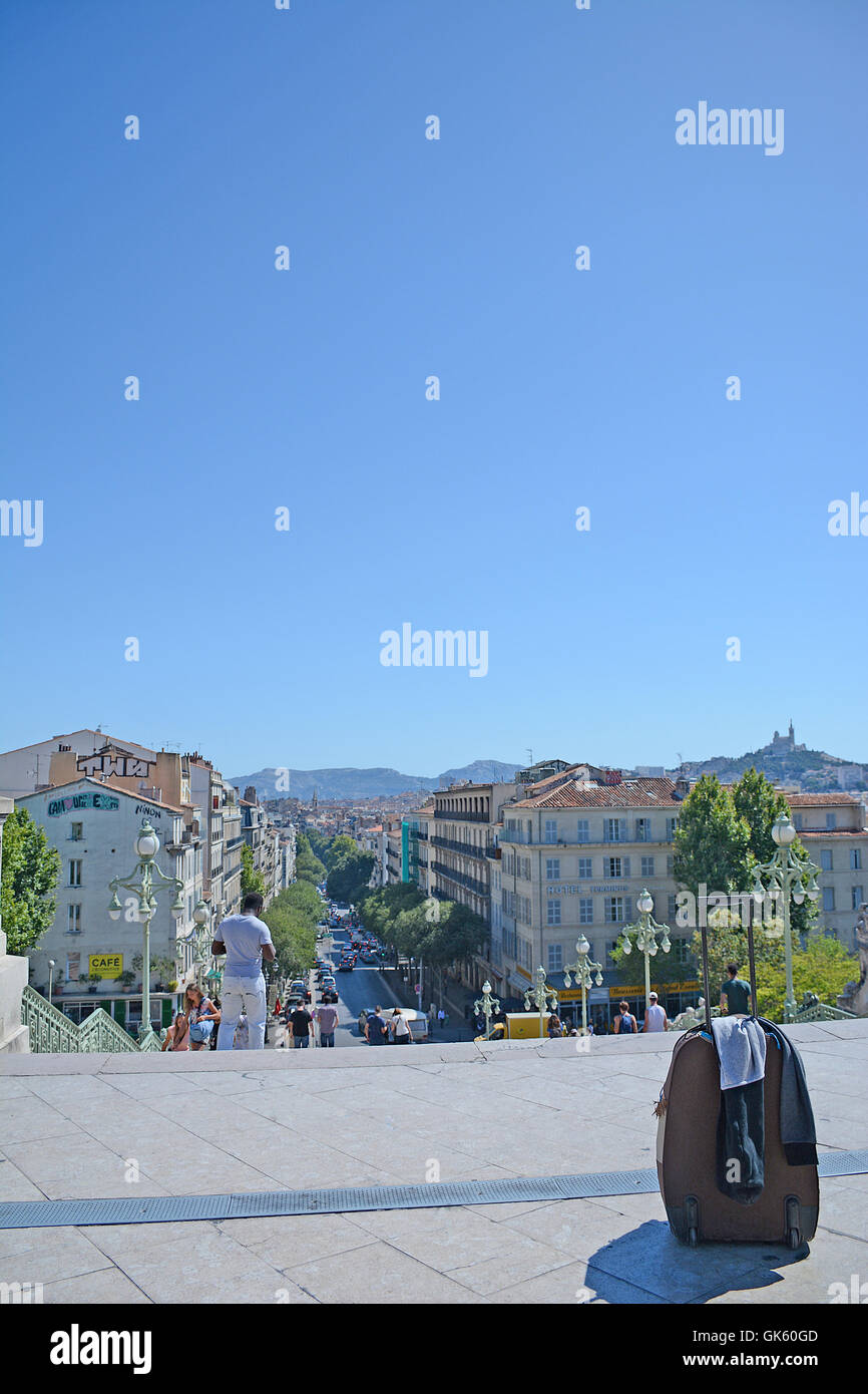 luggage alone before Saint-Charles railway station Marseille Bouches-du-Rhone France - Stock Image