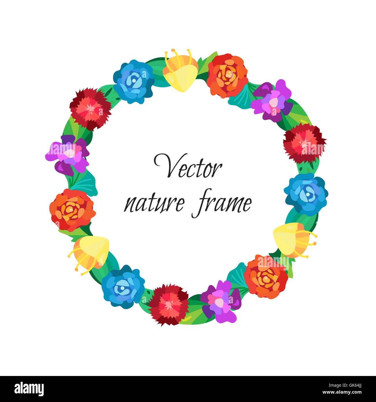 Floral wreath from beautiful colorful flowers isolated on white floral wreath from beautiful colorful flowers isolated on white background and wedding frame vector junglespirit Images