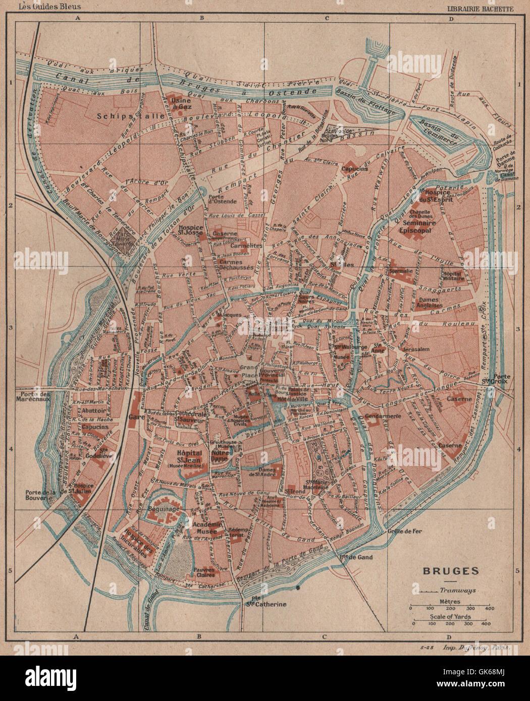 BRUGES BRUGGE Vintage town city map plan de la ville Belgium 1920