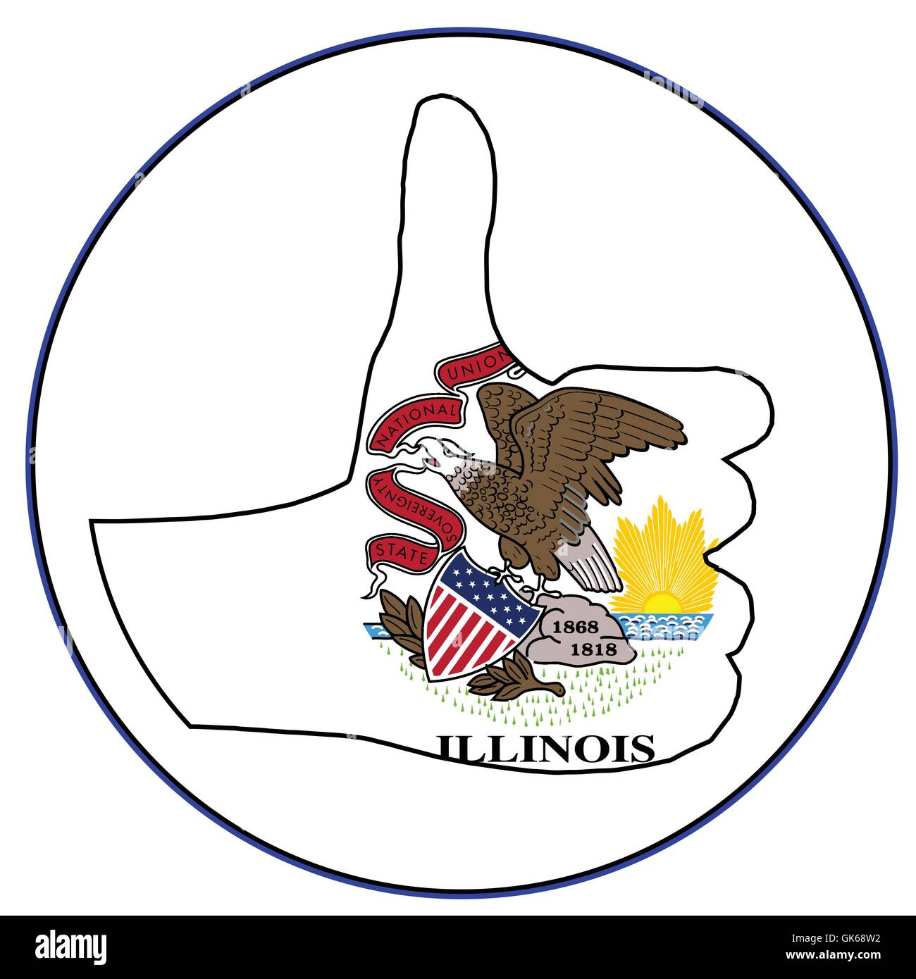 Illinois Flag hand giving the thumbs up sign all over a white background - Stock Vector