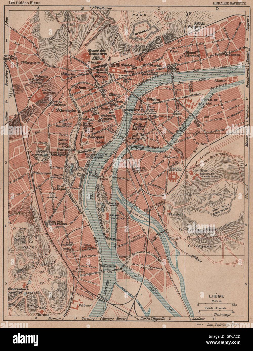 lige vintage town city map plan de la ville belgium liege 1920