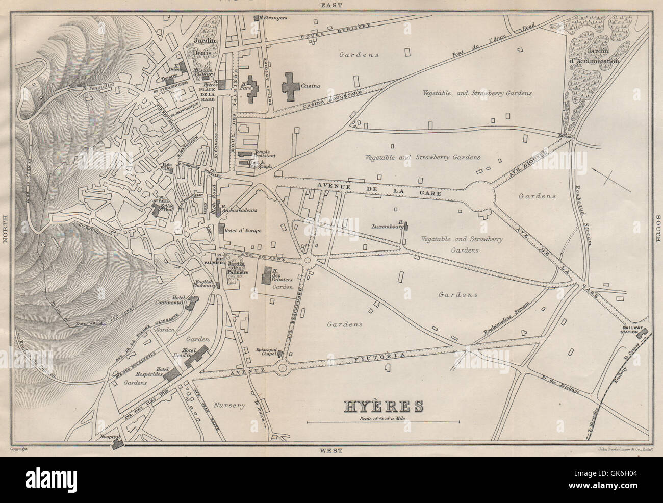 Orléans Orleans & Environs Sketch Map 1885 Old Antique Plan Chart Loiret
