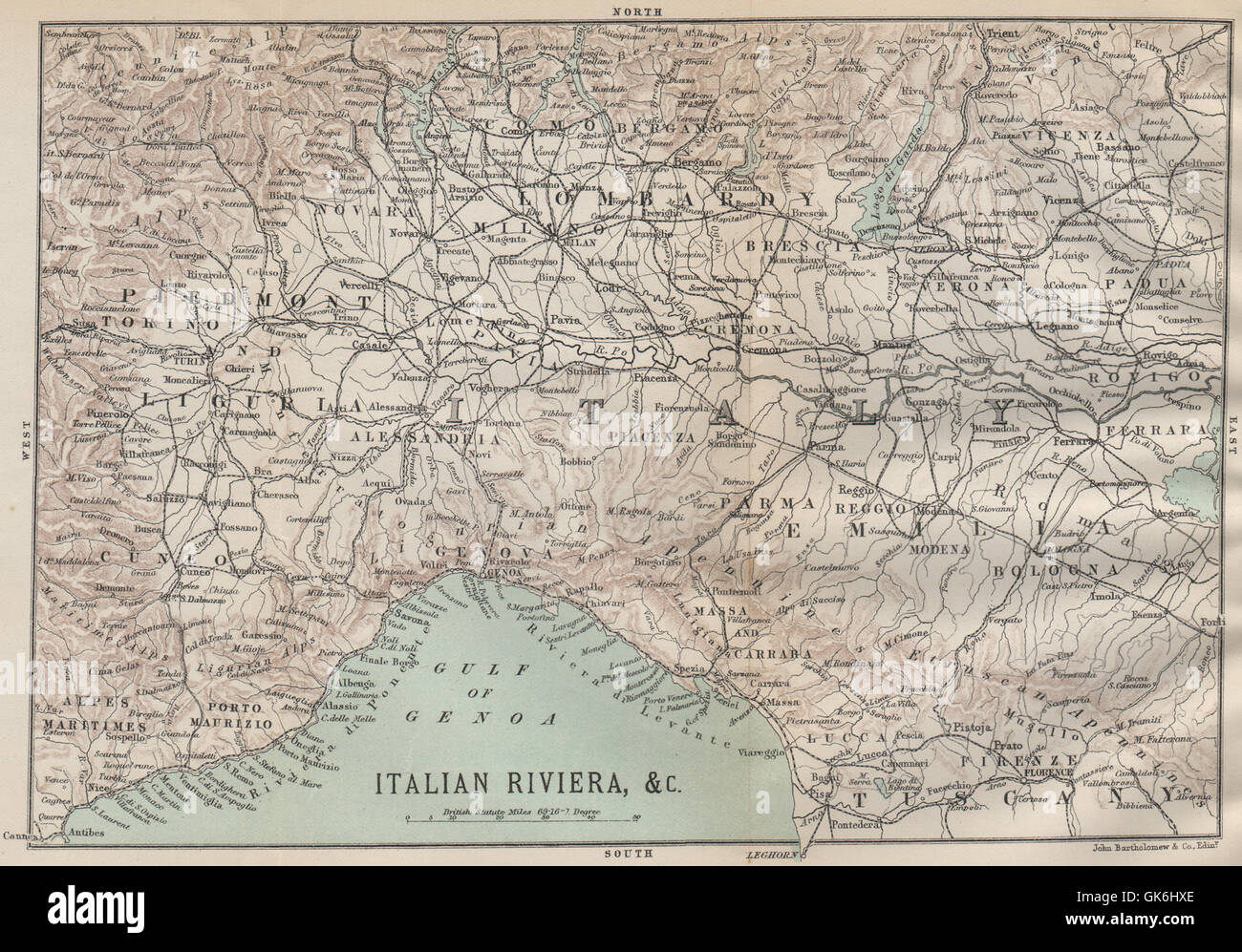 Map Of North West Italy.North West Italy Liguria Lombardy Piedmont Emilia 1890 Antique Map