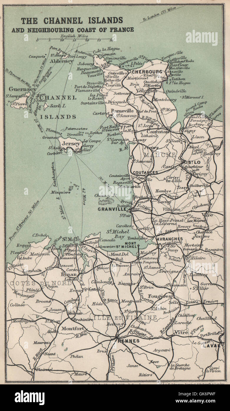 Map Of France Coast.Channel Islands Coast Of France Normandy Mont St Michel 1913