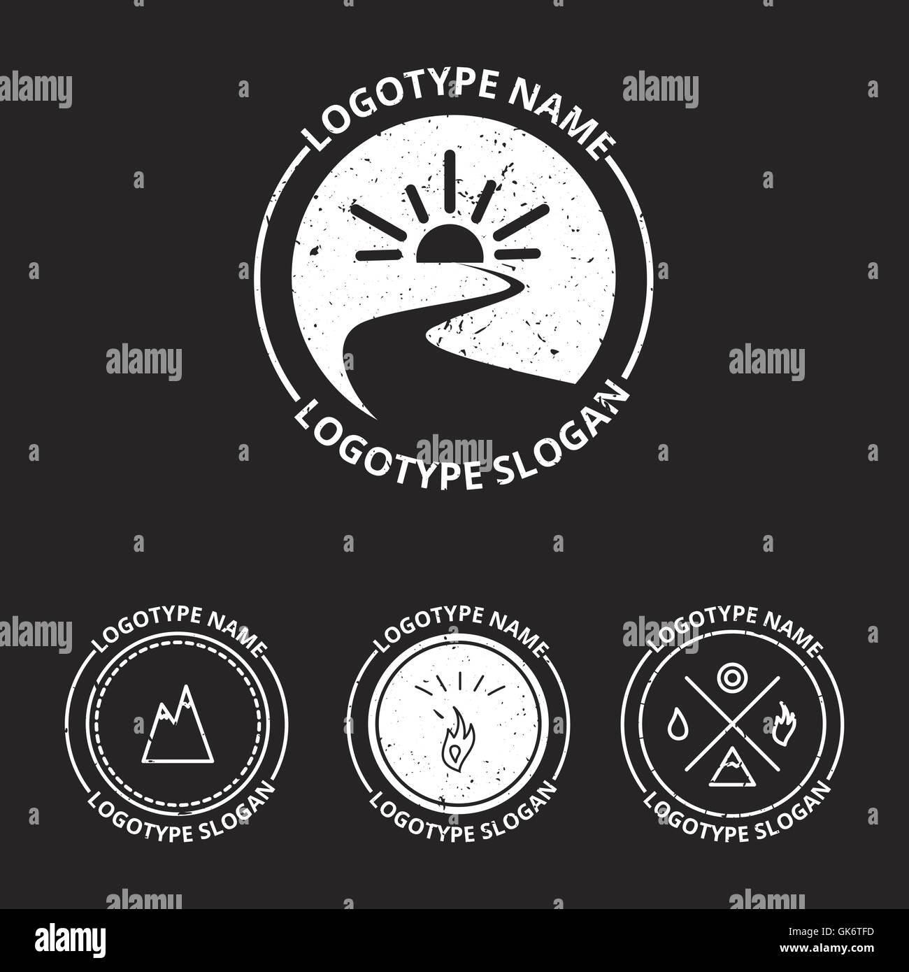 Vector set of ecology logotypes, icon and nature symbol: sun, river (water) in circle, mountains, hire, water - Stock Vector