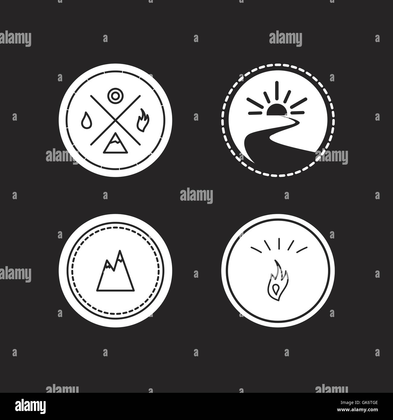 Vector set of ecology logotypes, icon and nature symbol: sun, river, water in circle, mountains, hire, water - Stock Image