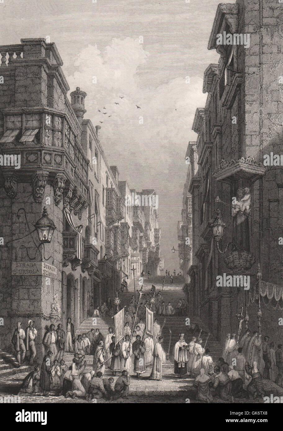 Strada St. Giovanni, Valletta, Malta, antique print 1840 - Stock Image