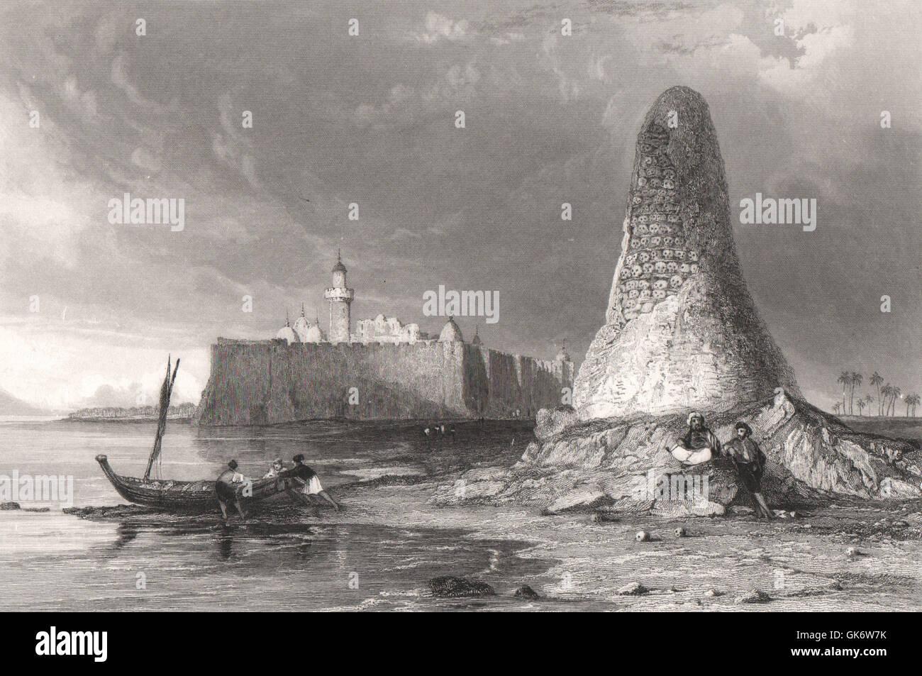 Burj-Er-Roos-or the Tower of Skulls, Djerba, Tunisia, antique print 1840 Stock Photo