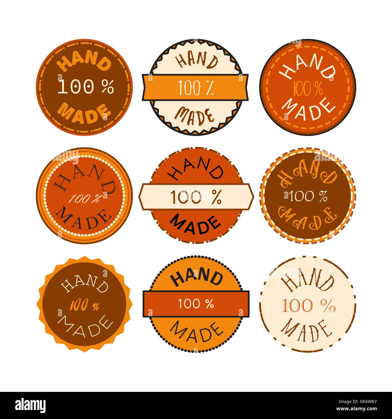 Badge Template With 100 Handmade Product Symbol Vintage Sticker