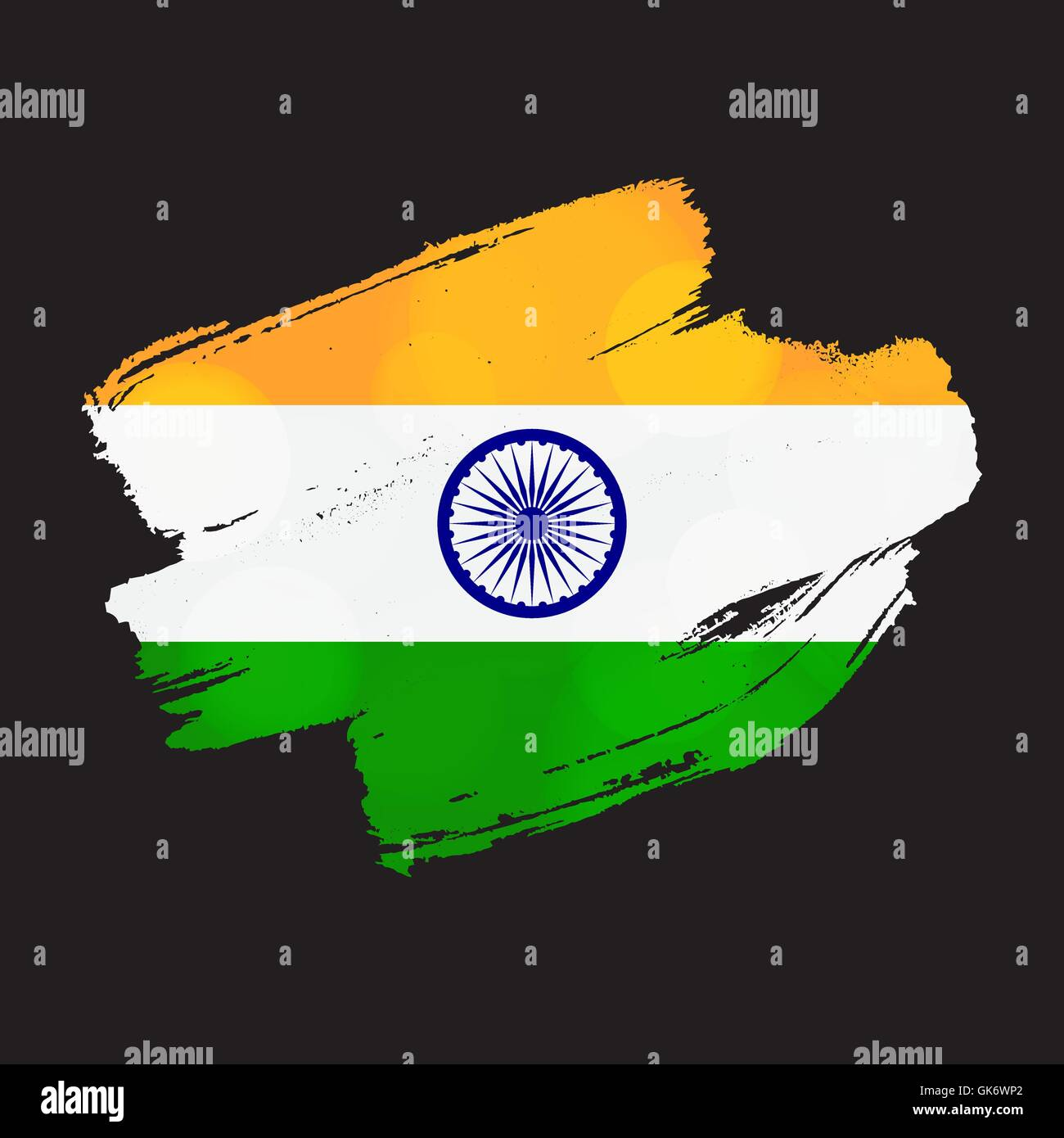Happy Independence Day India Greeting Template With Ashoka Wheel