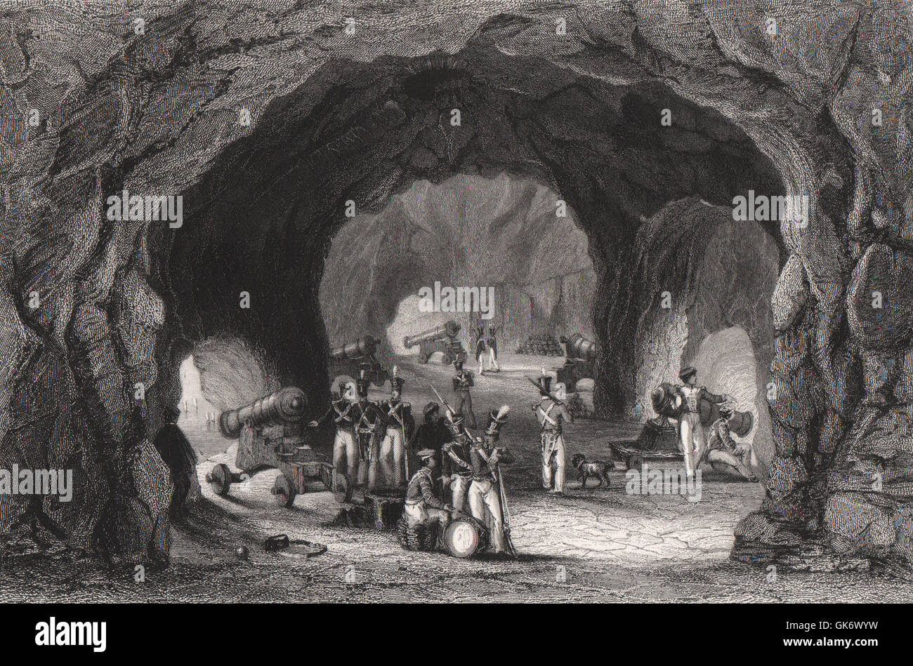 St. George's Hall, Gibraltar, antique print 1840 - Stock Image