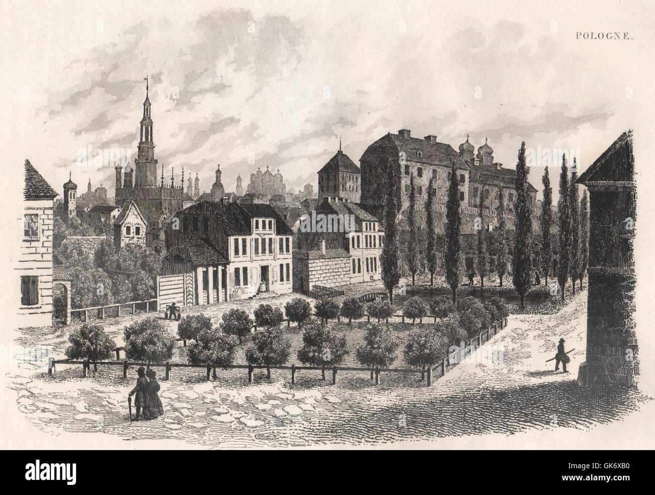 Poznan (Posen). Poland, antique print 1835 - Stock Image