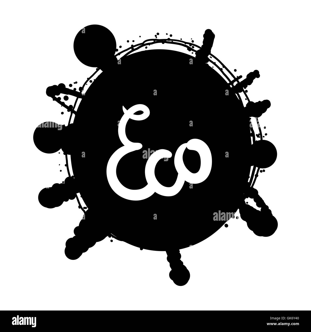 Hand drawn ecology and 100 percents natural lettering badge. Isolated grunge sticker or nature icon of quality for Stock Vector