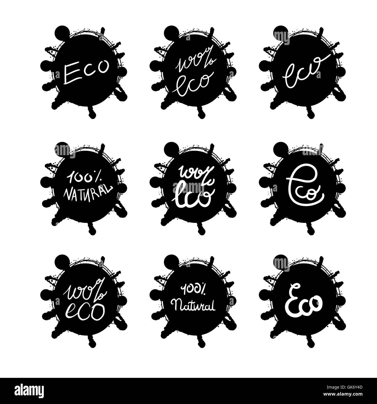 Hand drawn ecology and 100 percents natural lettering badges set. Isolated grunge sticker or nature icon of quality Stock Vector