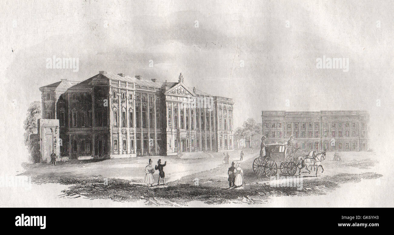 Krasinski Palace. Poland, antique print 1836 - Stock Image