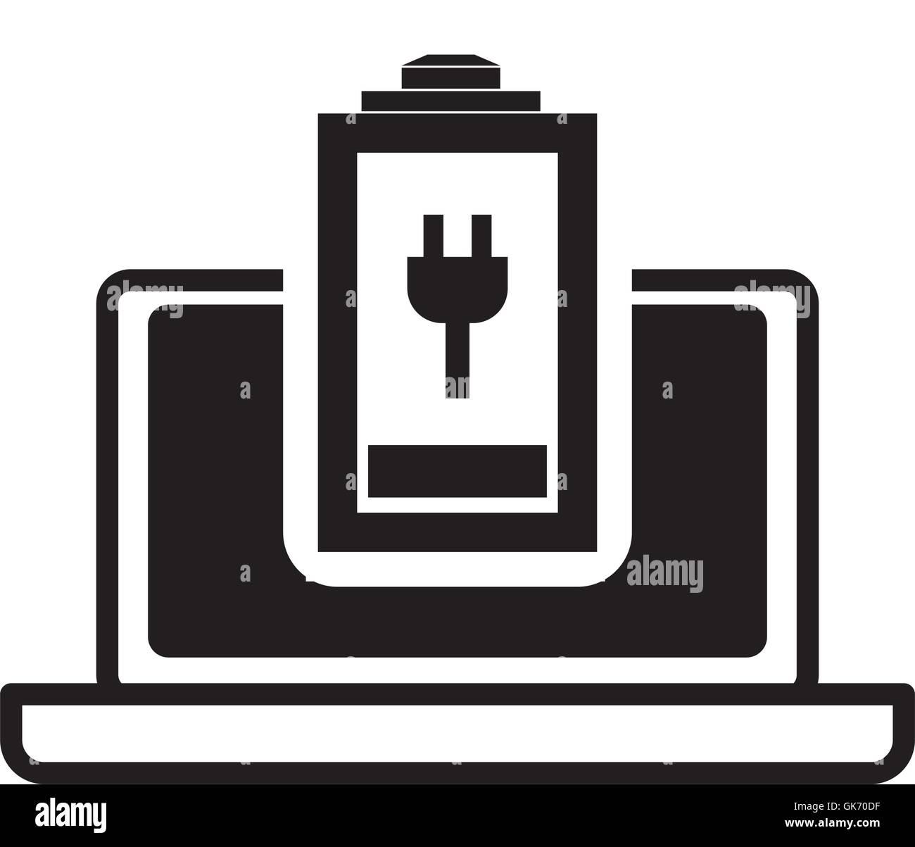 Battery laptop technology design - Stock Image