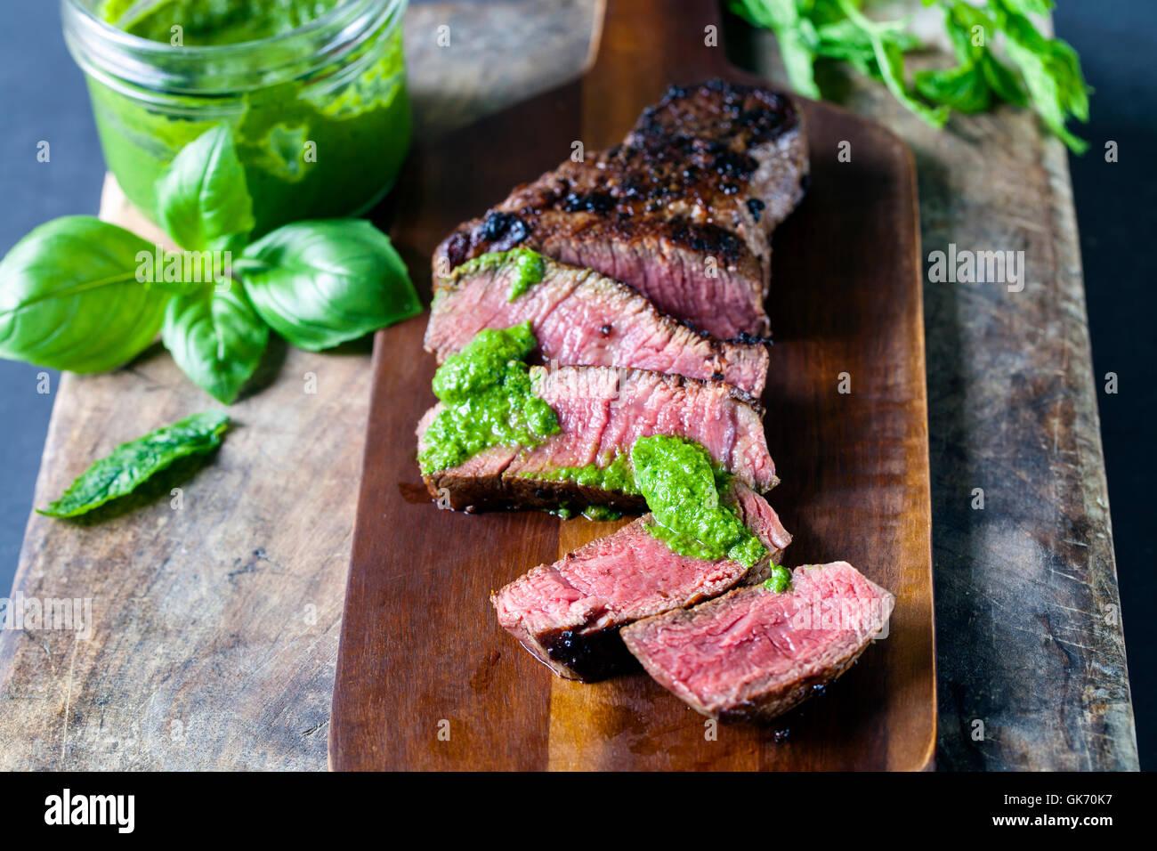 Fillet steak with salsa verde - Stock Image