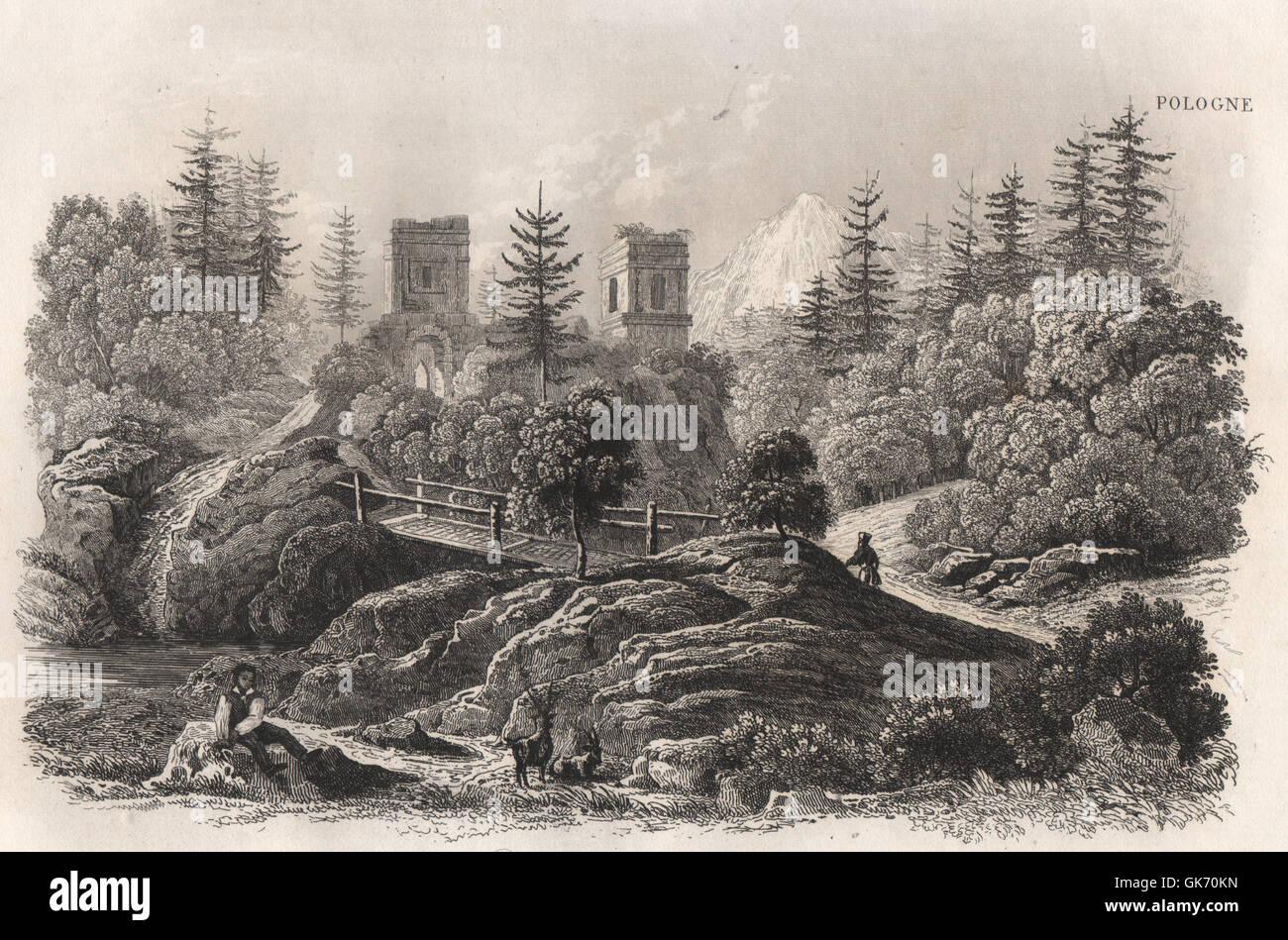 Kaluza (Maniawa). Ukraine, antique print 1836 - Stock Image