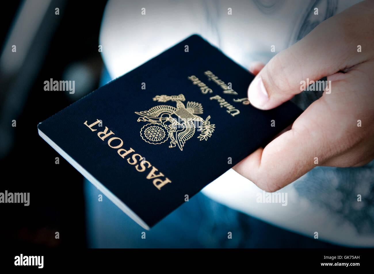 travel usa passport Stock Photo