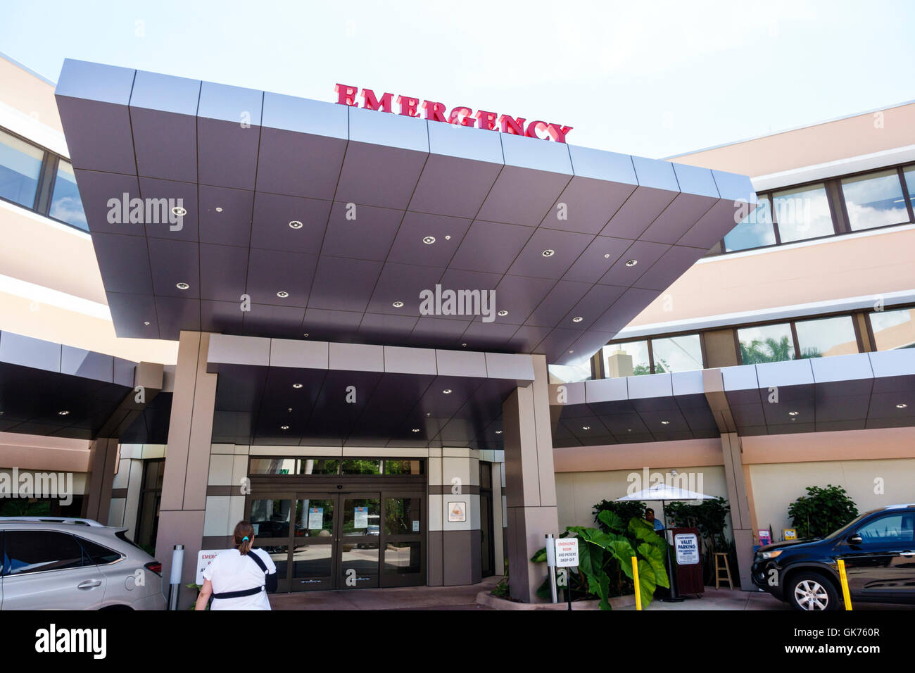 Miami Coral Gables Florida Doctors Hospital Baptist Health medical facility health emergency entrance canopy building - Stock Image