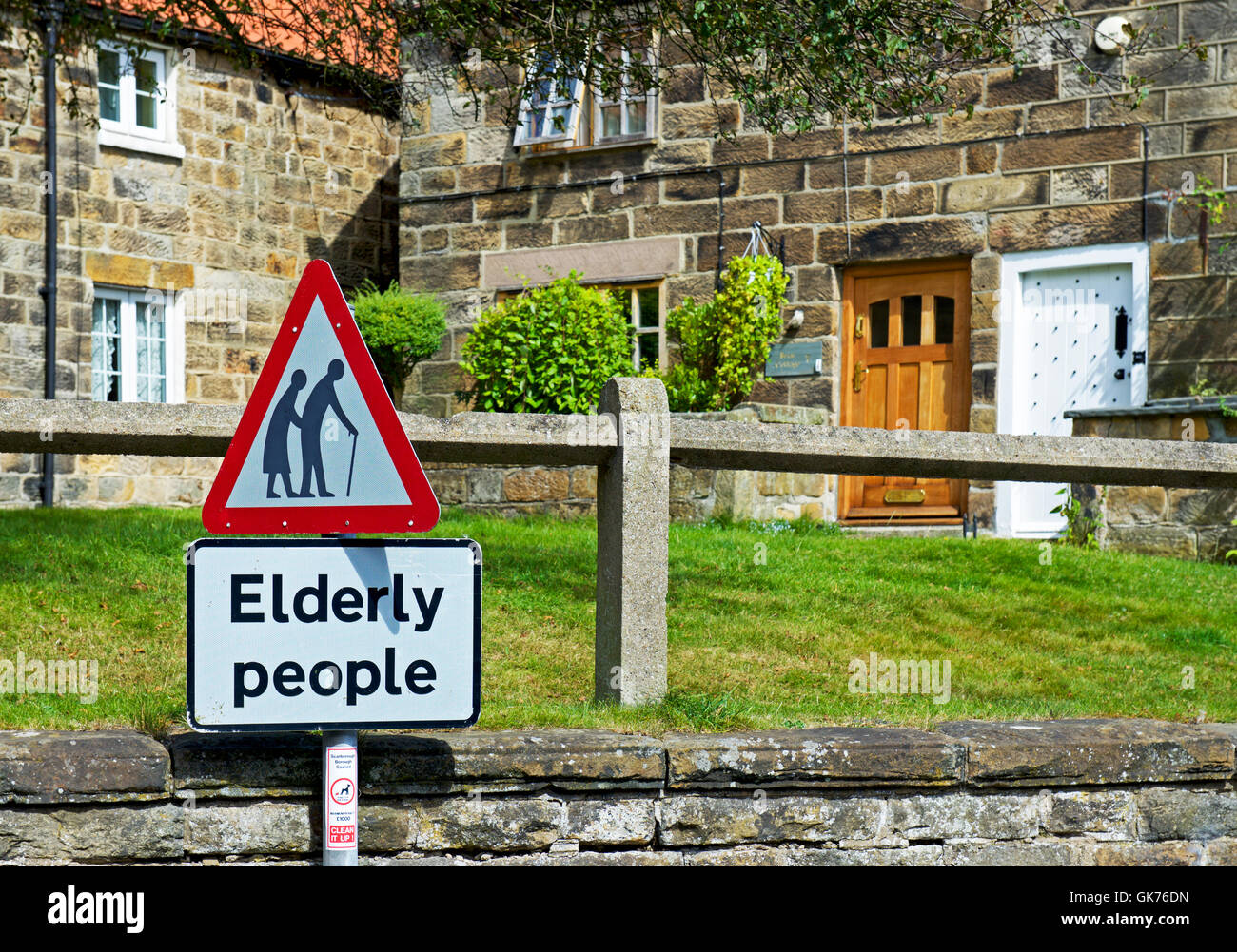 Sign for old people crossing the road, Castleton, North Yorkshire, England UK - Stock Image