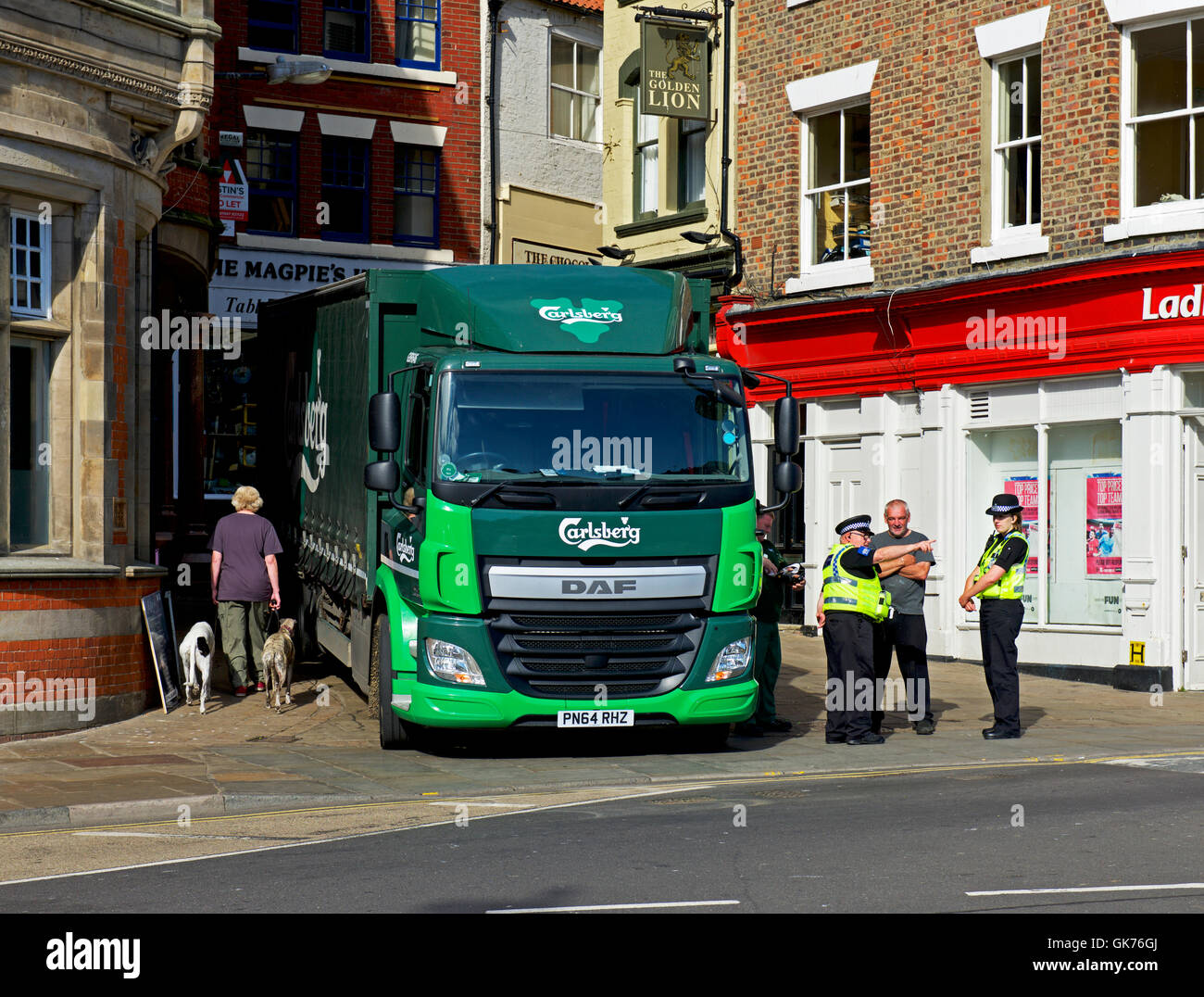 Carlsberg lorry parked in Whitby, North Yorkshire, England UK - Stock Image