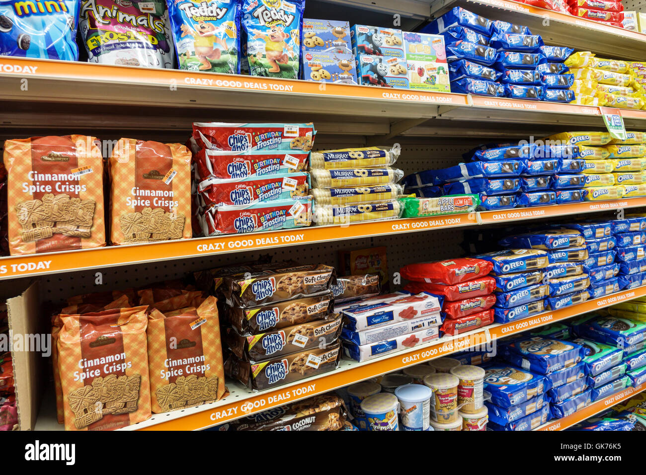 miami florida coral way big lots shopping retail company discount close out store food display shelf shelves package cookies chips ahoy oreo cinnamon - Big Lots Bookshelves