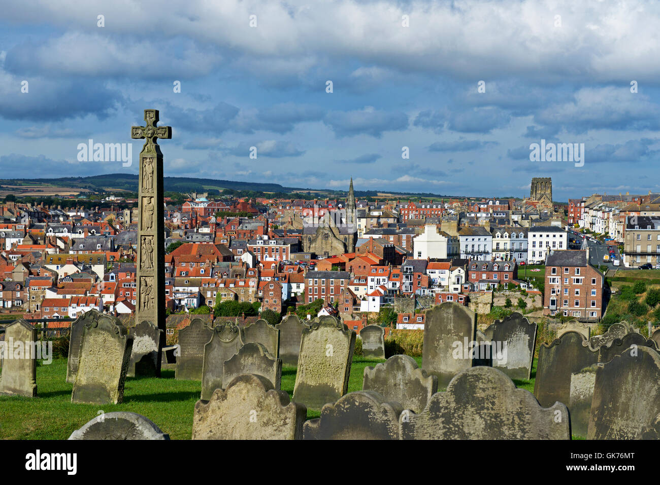 View of Whitby from the graveyard of St Mary's Church, North Yorkshire, England UK Stock Photo