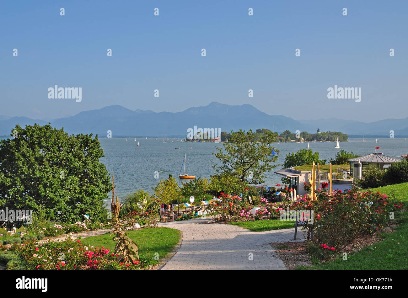 look at the woman island from prien am chiemsee Stock Photo