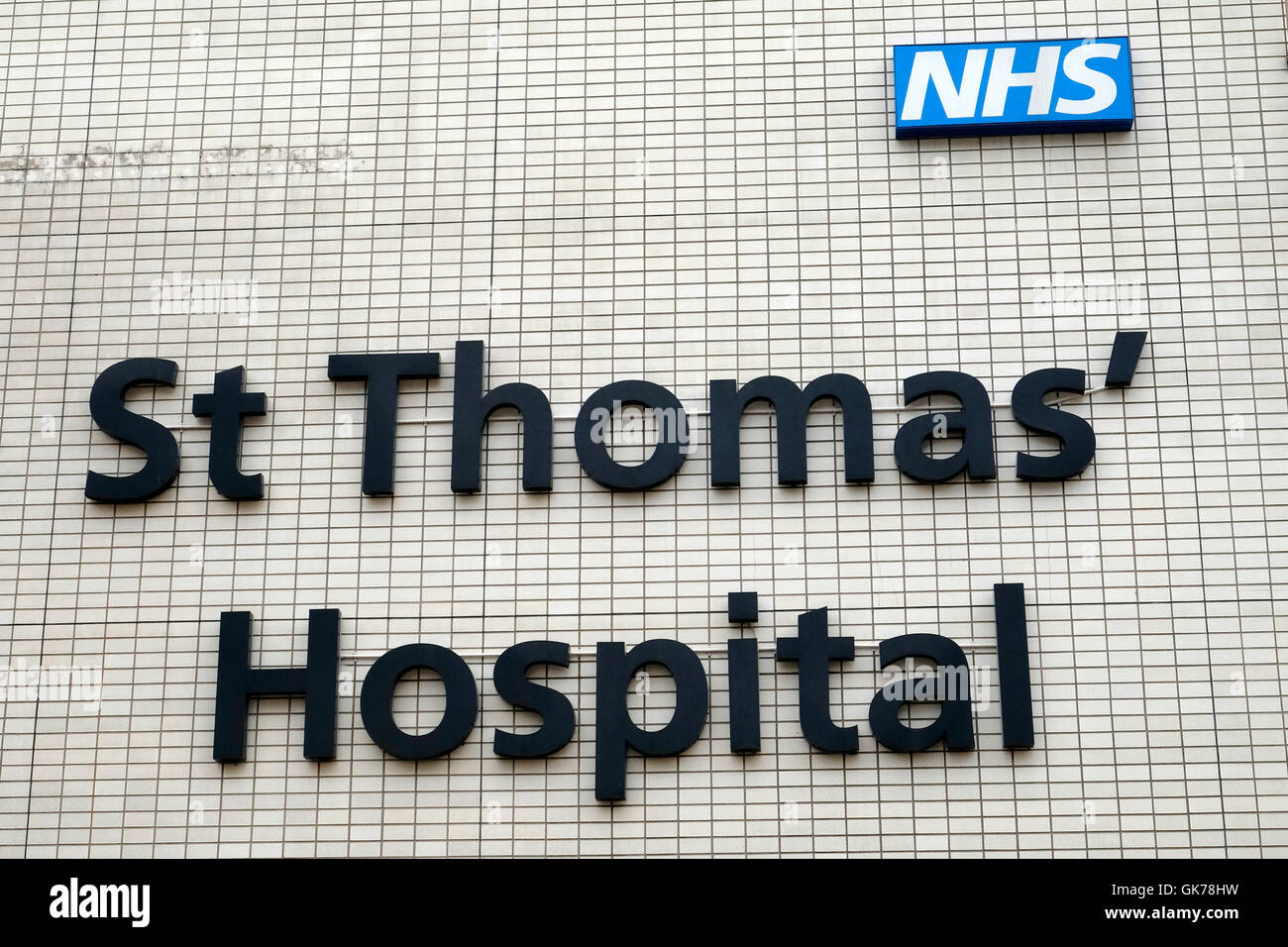 St Thomas' hospital sign - Stock Image
