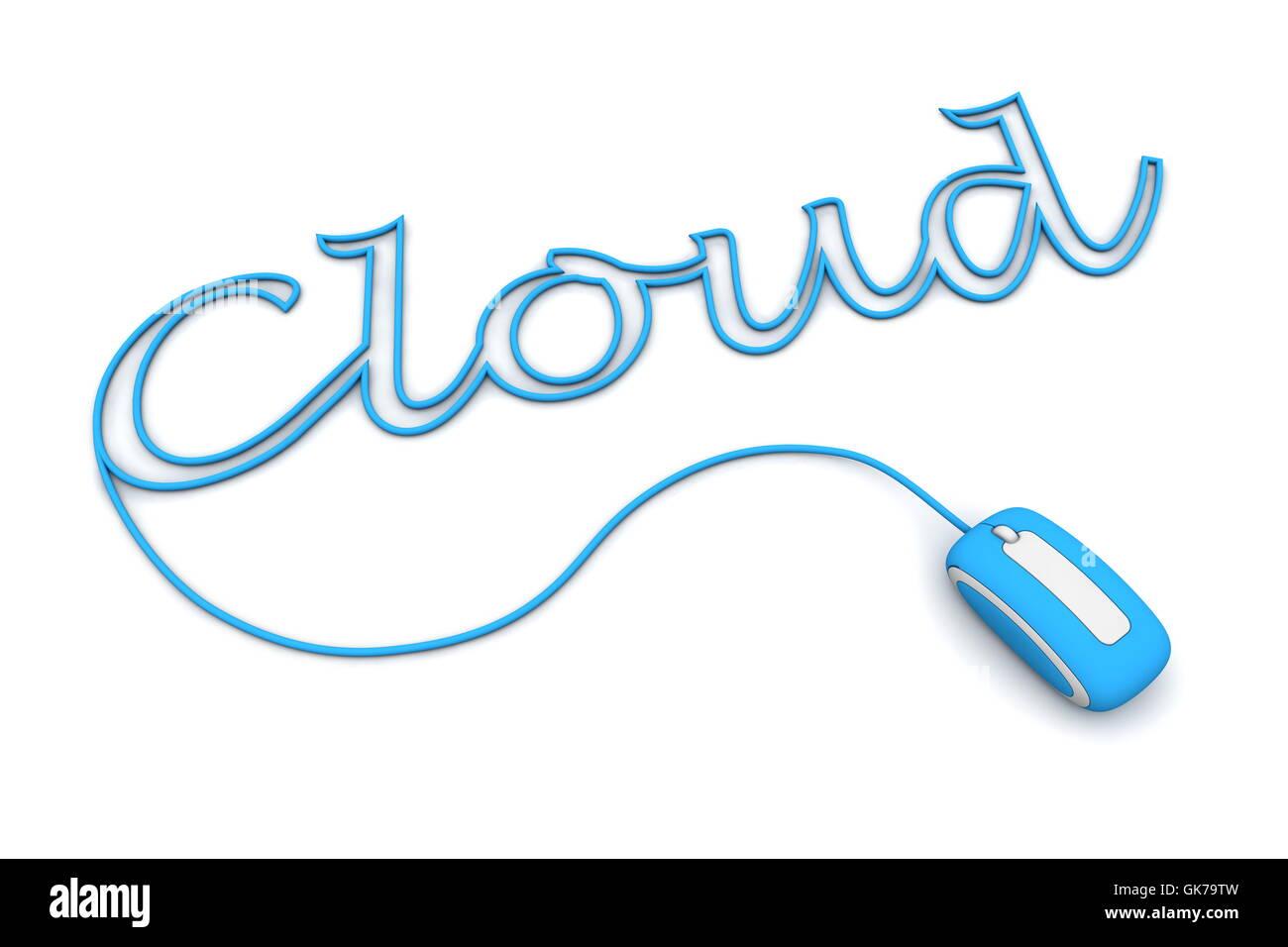 blue cloud word Stock Photo