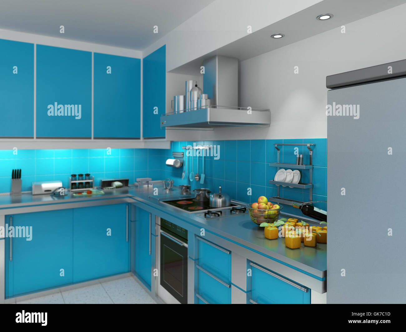 Stainless Rack Kitchen Cabinet Stock Photos & Stainless Rack Kitchen ...