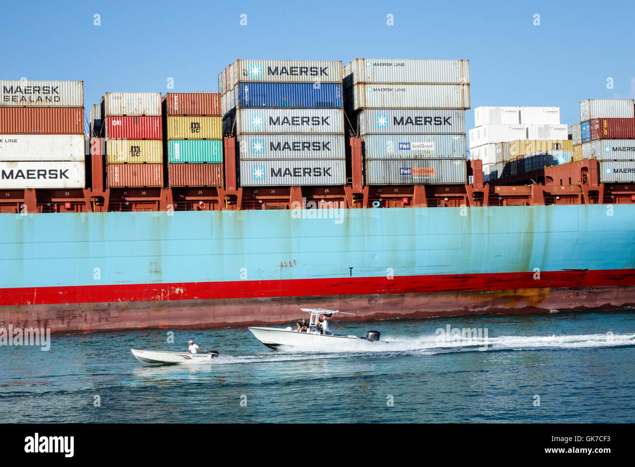 Miami Florida Beach South Beach Government Cut shipping channel water container ship cargo Maersk Line transportation Stock Photo