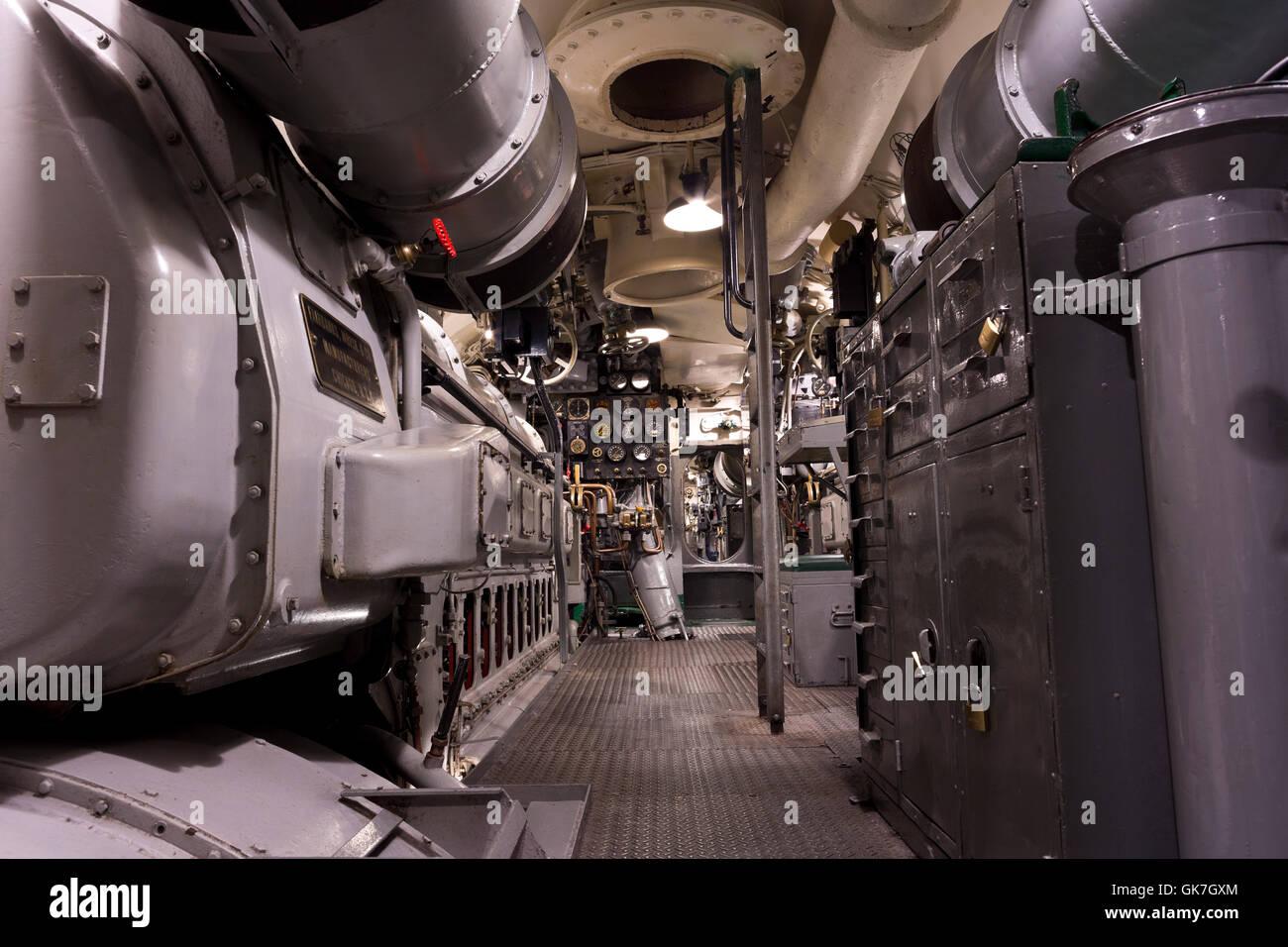US World War II submarine interior Stock Photo: 115107628