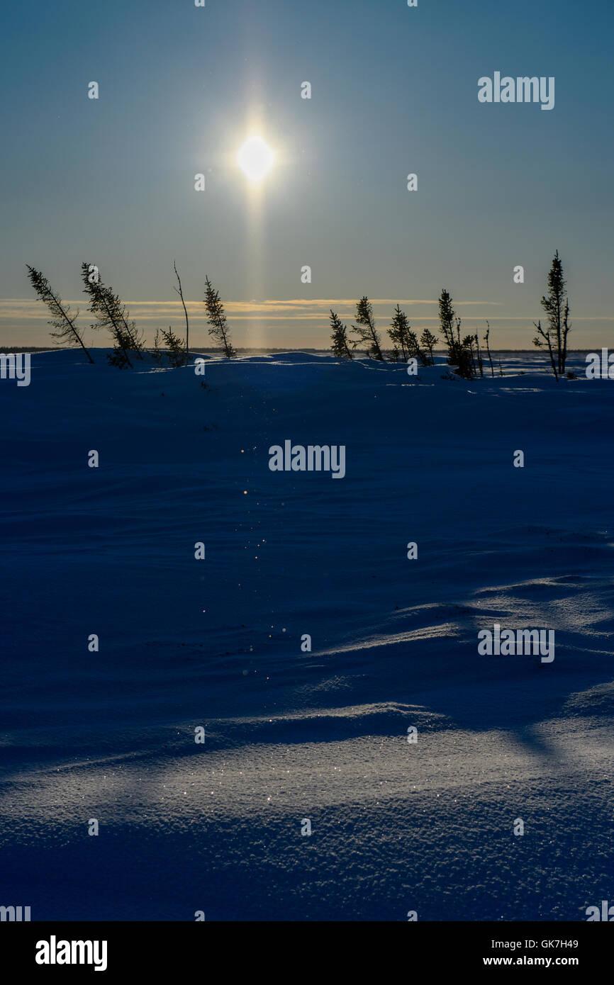 Sun halo with ice crystals over tundra, wapusk national park, Manitoba, Canada. - Stock Image