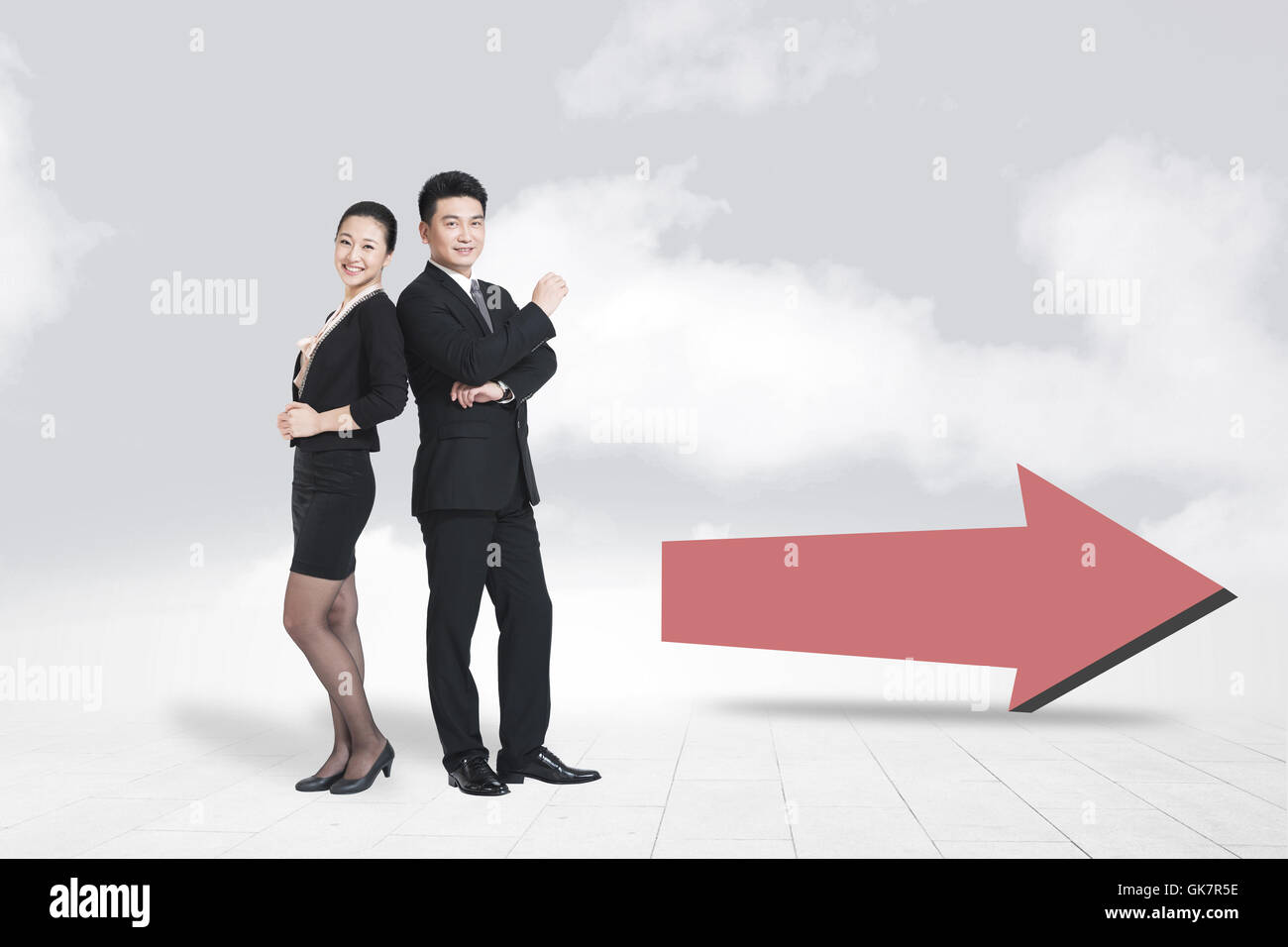 Business people and arrows symbol - Stock Image