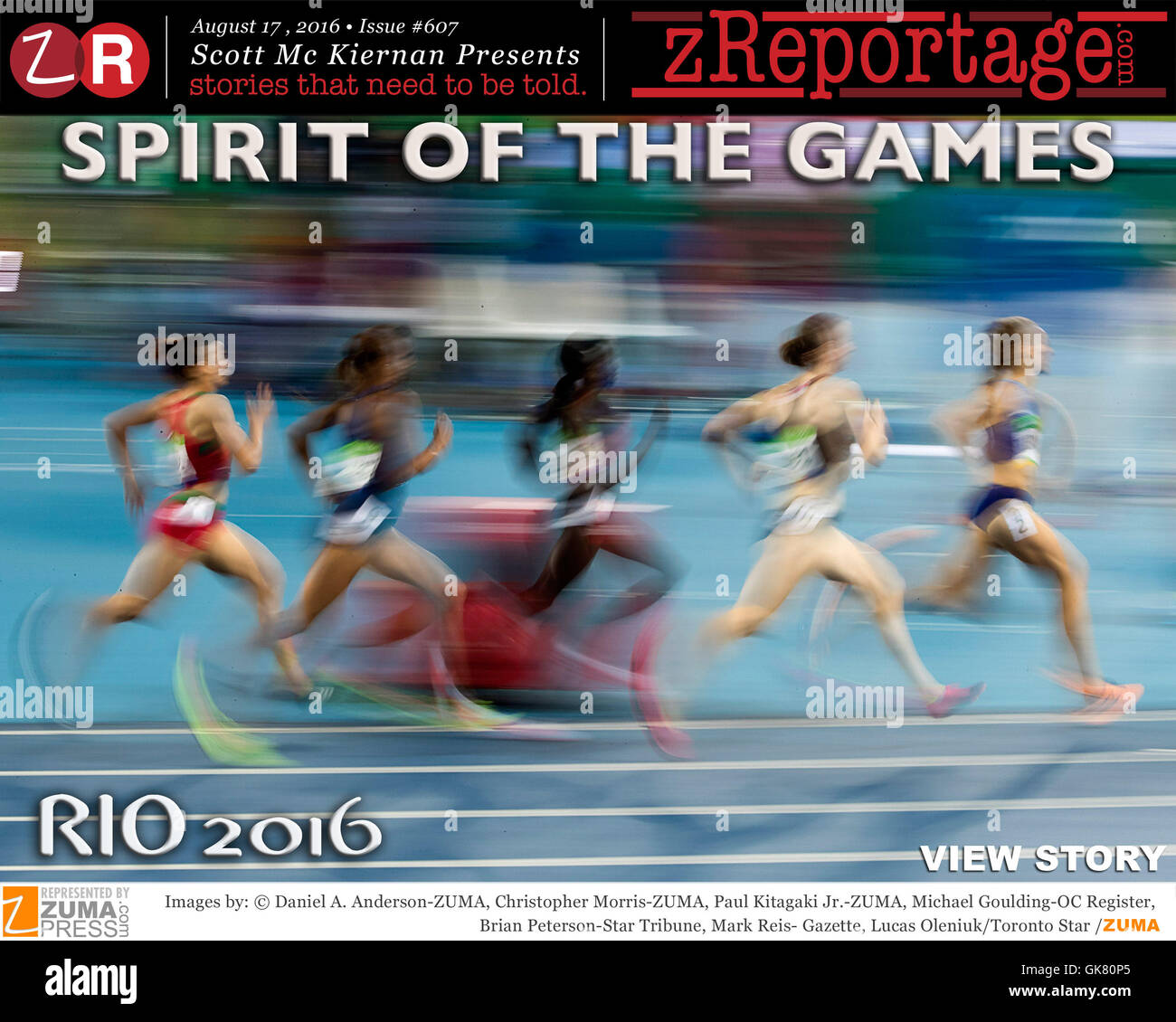 zReportage.com Story of the Week # 607 - RIO 2016 - Spirit Of The Games - Launched August 17, 2016 - Full multimedia - Stock Image