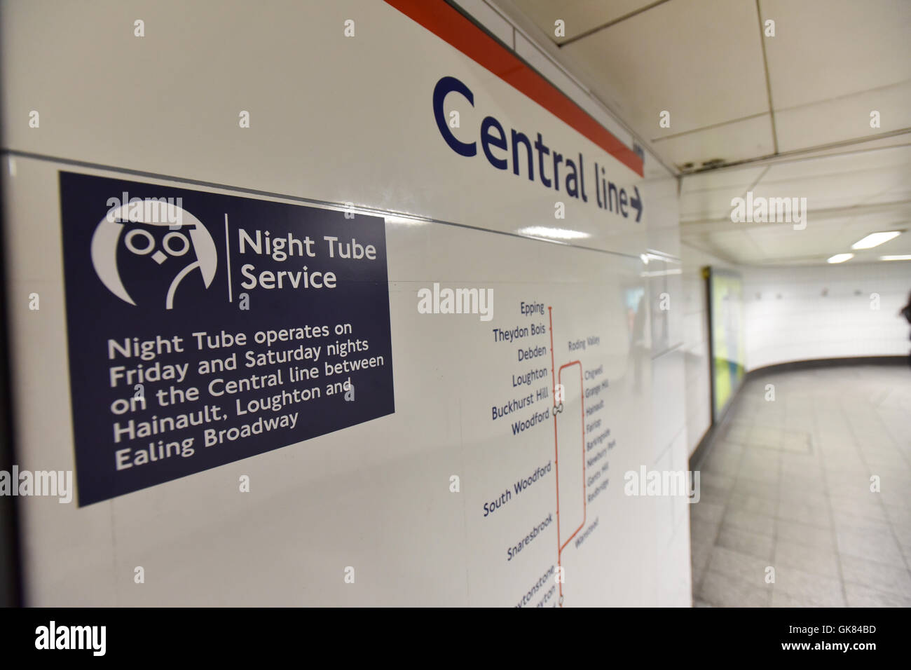 London, UK. 19th August 2016. Night Tube Service begins tonight on the Victoria and Central Lines. - Stock Image
