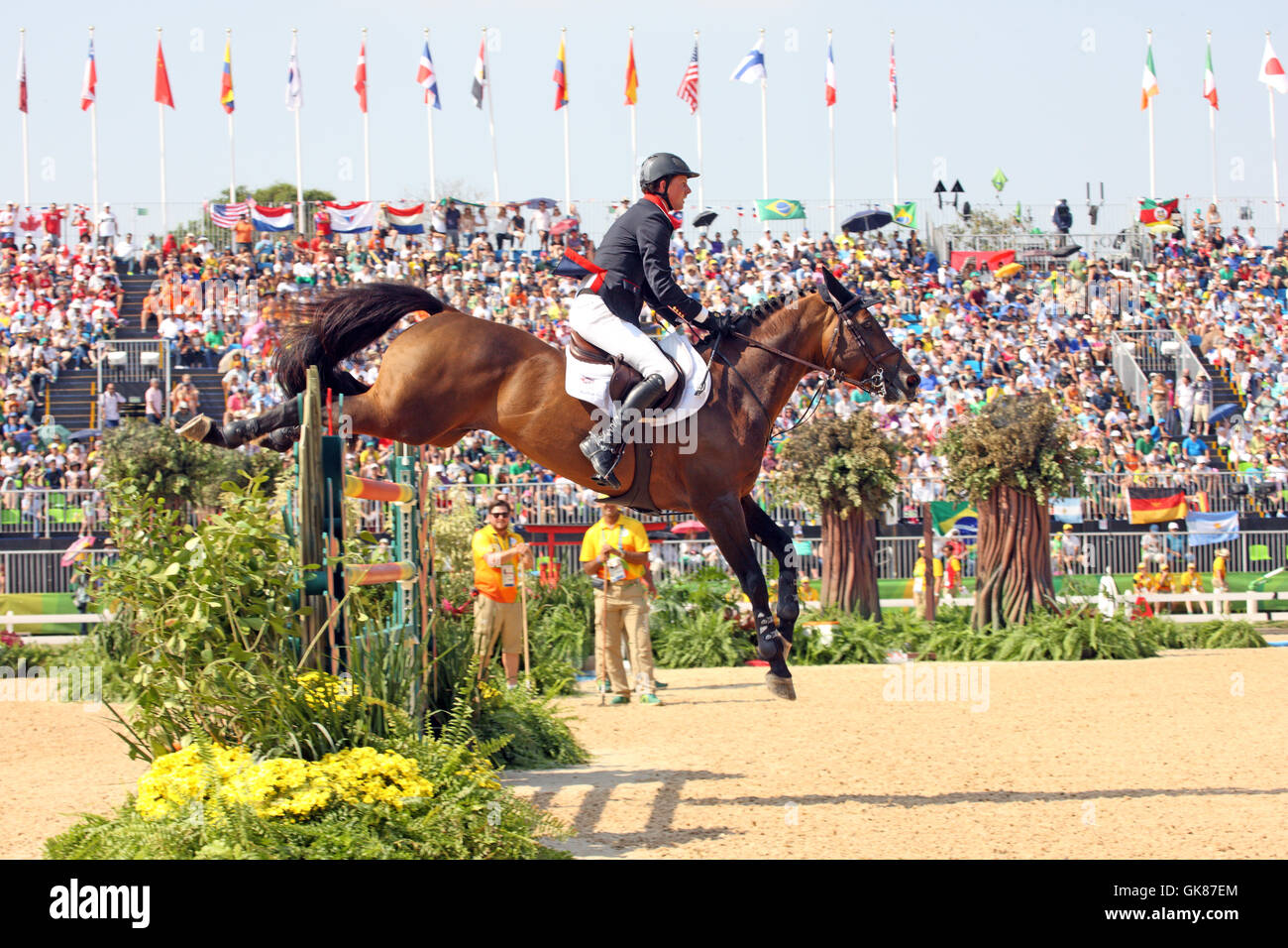 Rio de Janeiro, Brazil. 19th August, 2016. Ben Maher of GBR on 'Tic Tac' in Round B of the Olympic Equestrian - Stock Image