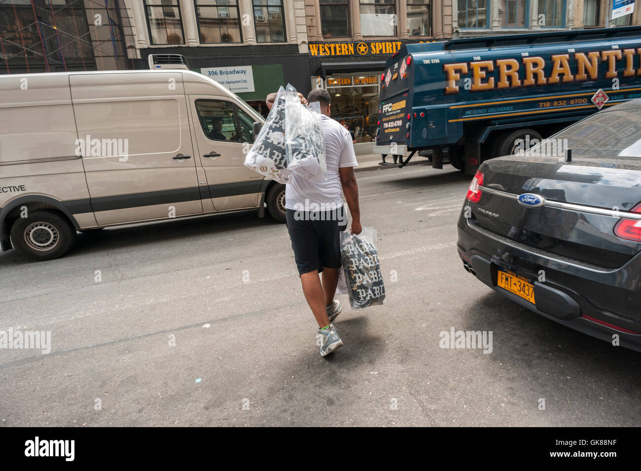 New York, USA. 19th August, 2016. A Kanye West shopper with
