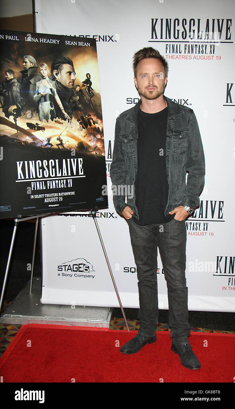 New York, USA. 18th August, 2016. Aaron Paul at Sony Pictures, Stage6 & Square Enix presents screening of Kingsglaive: - Stock Image