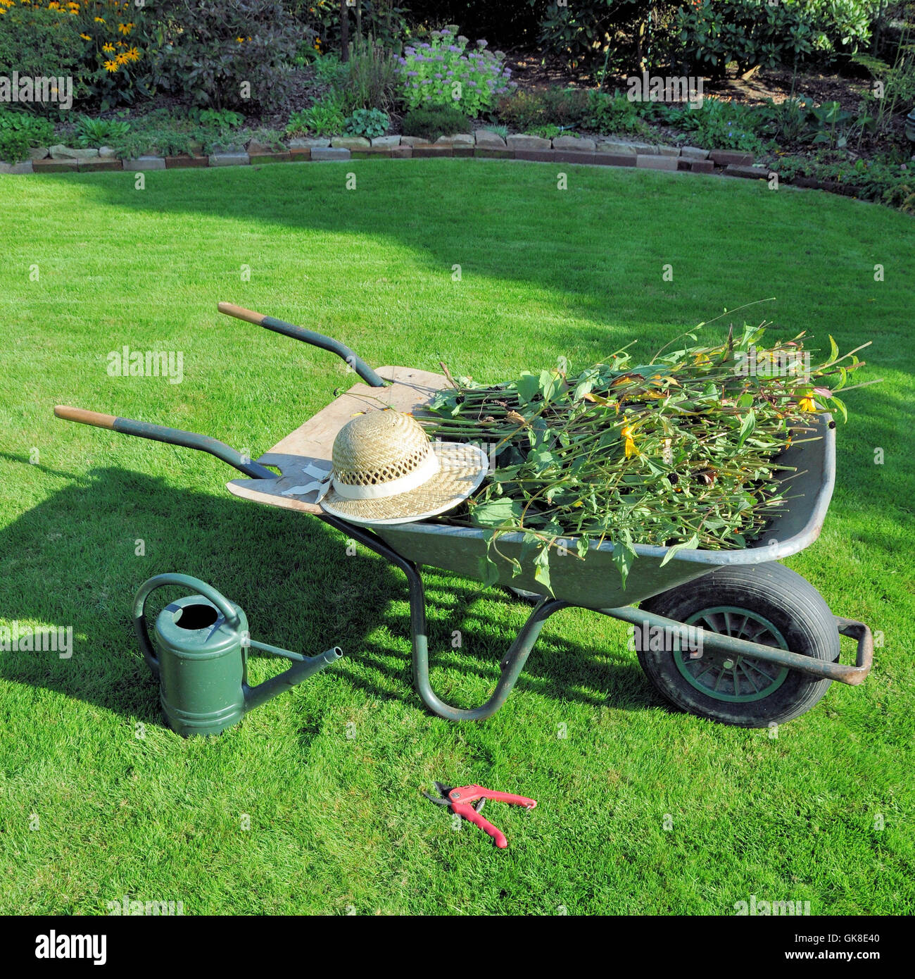garden cart with green waste Stock Photo