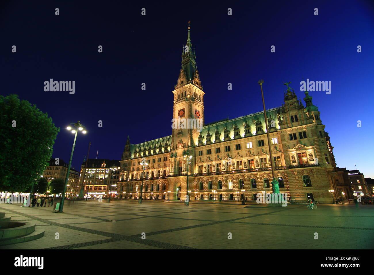 rathausmarkt hamburg - Stock Image