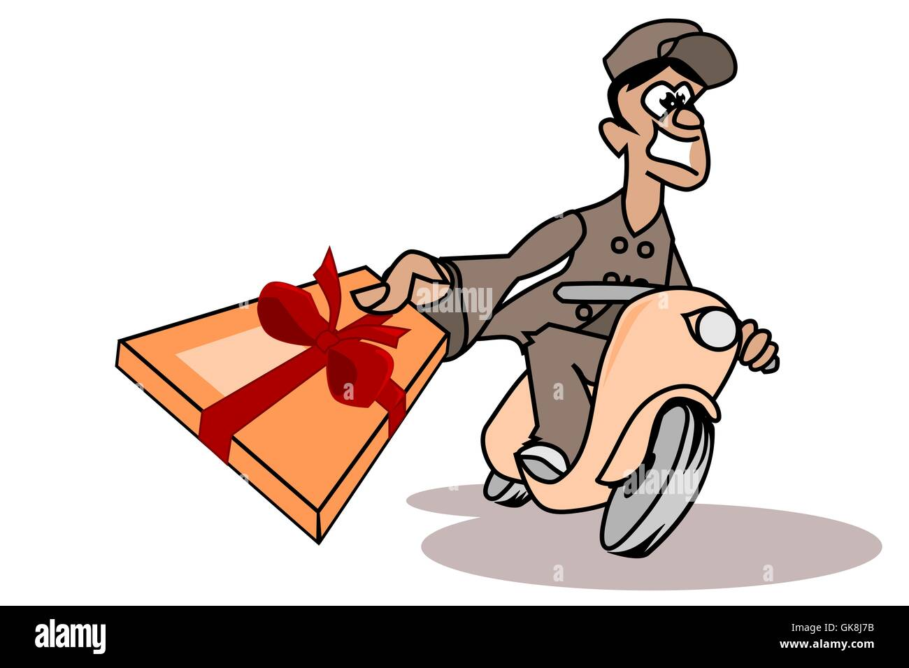 cheerful parcel deliverer with a gift box Stock Photo