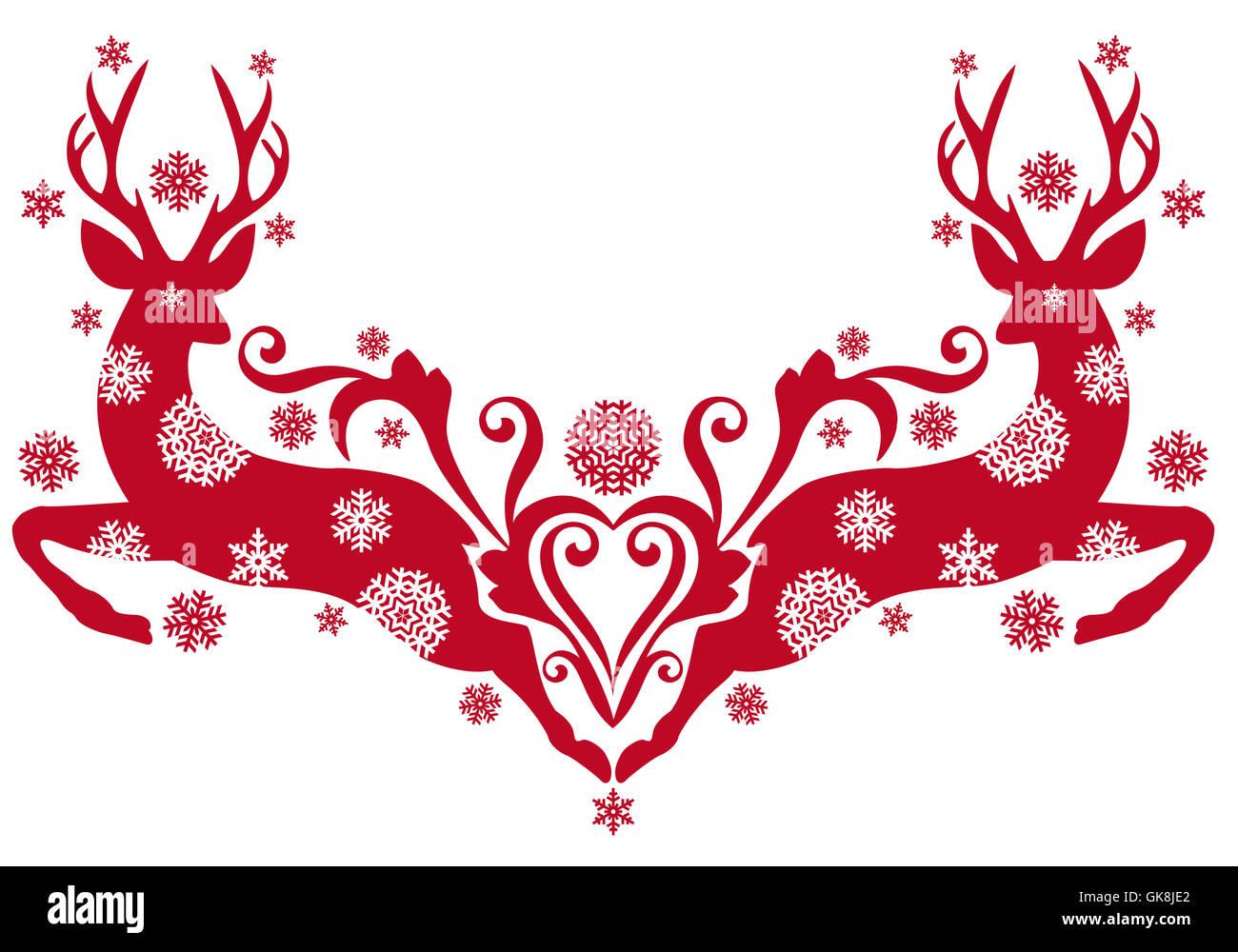 christmas snowflake deer - Stock Image