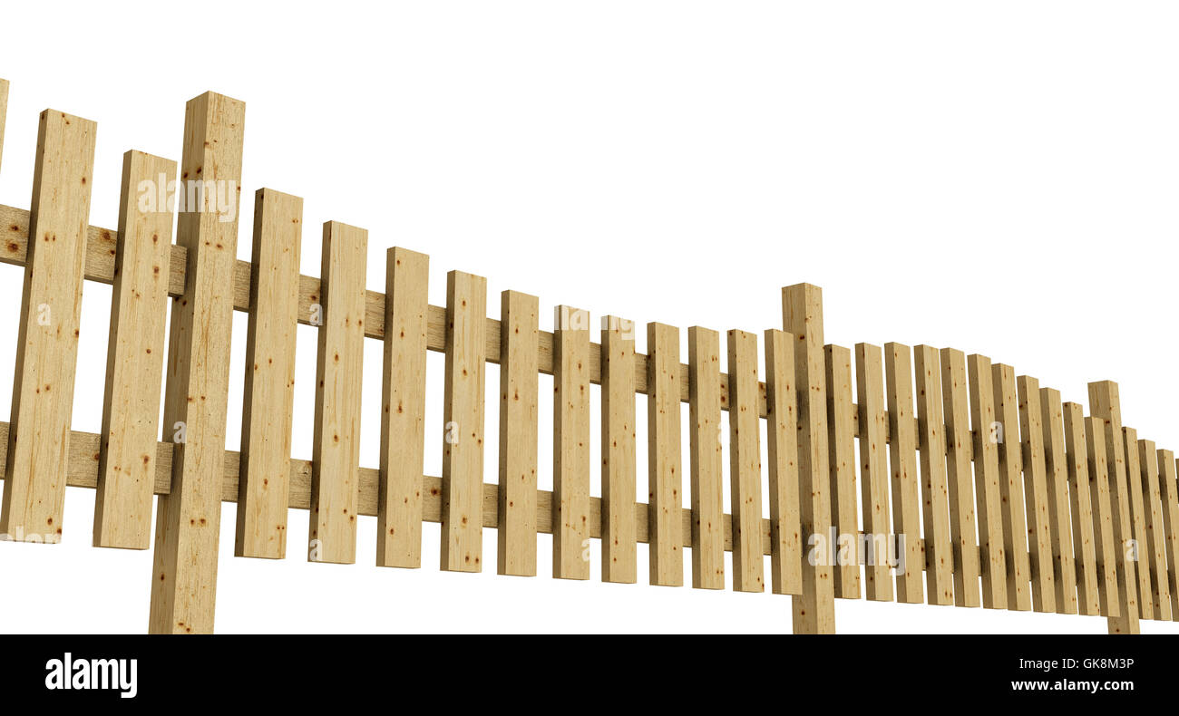 3d wooden fence - light brown exempted 04 - Stock Image