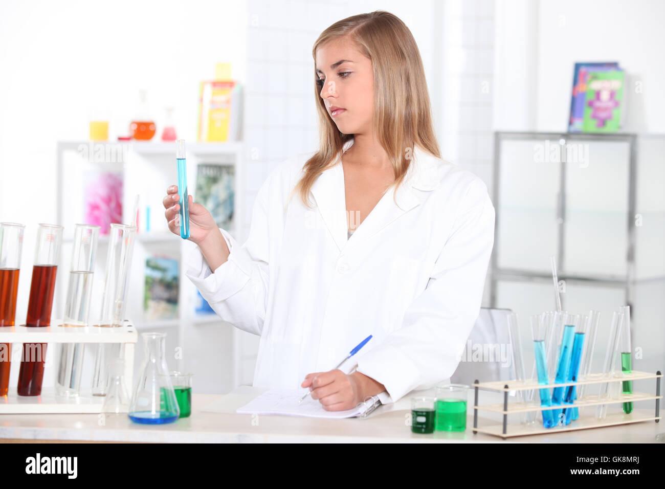 experiment biological chemist - Stock Image